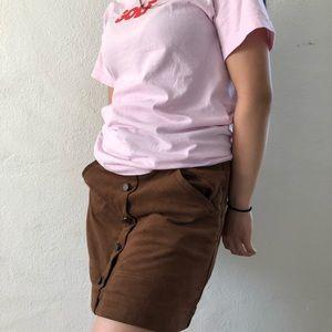cute button up velvet mini skirt!